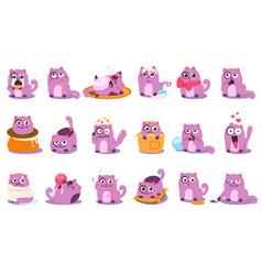 Flat set of cartoon purple kitten vector