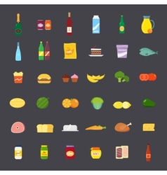 Flat Style Food and Beverages Icon Set vector