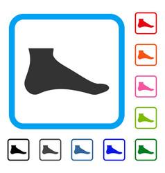 Foot framed icon vector
