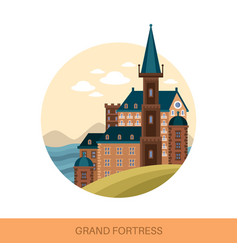 fort or fortress strong medieval fortification vector image