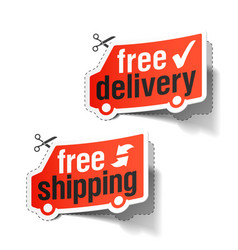 free delivery and free shipping labels vector image