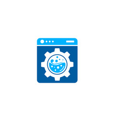 Gear laundry logo icon design vector