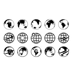 globe earth icons world maps with plane arrow vector image
