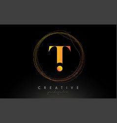 Gold artistic t letter logo design with creative vector