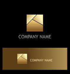 Gold square shape logo vector