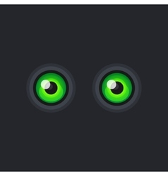 Green Cartoon Eyes on Dark Background vector image