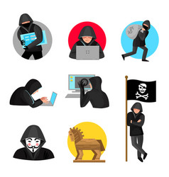 hackers characters symbols icons collection vector image