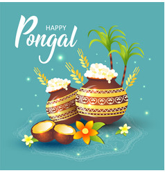 Happy pongal holiday harvest vector