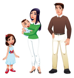 Human family with mother father and children vector