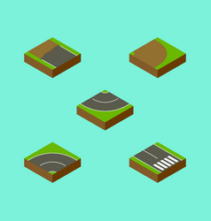 Isometric road set of pedestrian road incomplete vector