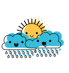 Kawaii sun and cloud with rain in watercolor vector