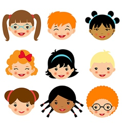 Kids faces 2 vector image