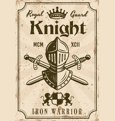 Knight medieval thematic vintage poster vector