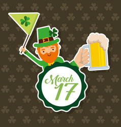leprechaun holding flag and beer march 17 vector image