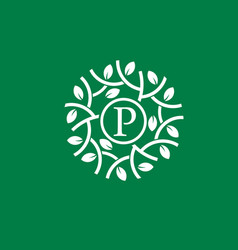 letter p with green leaf circle logo concept vector image