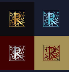 letter r decorative logo vector image