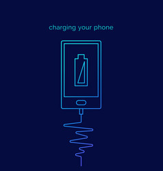 linear of charging phone on dark vector image