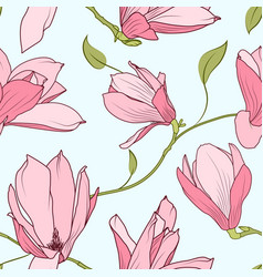 Magnolia sakura blooming flowers seamless pattern vector