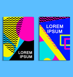 Memphis poster set geometric elements in the vector