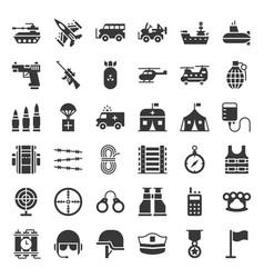 Military related vehicle and weapons solid icon vector