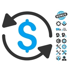 Money Turnover Flat Icon With Tools Bonus vector image