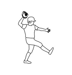 Monochrome contour of baseball pitcher vector