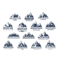 Mountain tourism and sport icons set vector