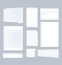 Note papers lined notes set stripe sheets vector