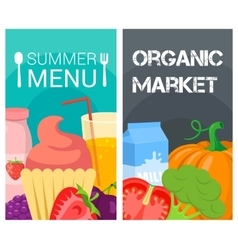 Organic food bright banners vector