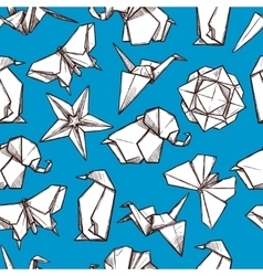 Origami paper folded figures seamless pattern vector
