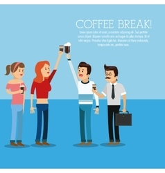 people coffee break shop icon graphic vector image