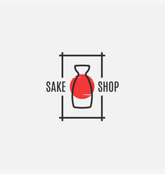 Sake logo with bottle on white background vector