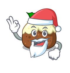 Santa fruit cake mascot cartoon vector