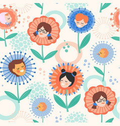 seamless pattern with children in flowers design vector image