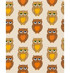 Seamless Pattern with Sleepy Brown Owl vector