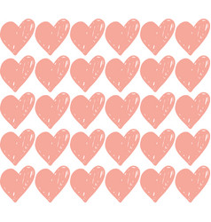 seamless retro pattern pink heart hand vector image