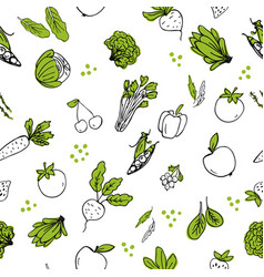 seasmless pattern with hand drawn vegetables vector image