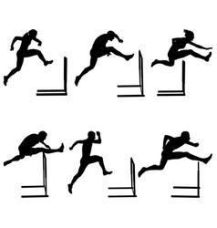 Set athletics running hurdles vector