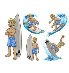set cartoon surfer white boy vector image