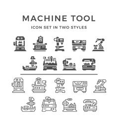 Set icons of machine tool vector