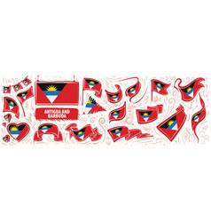 set national flag antigua vector image