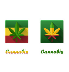 set square icons with cannabis hashish vector image