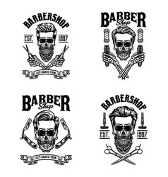 set vintage barber skull vector image