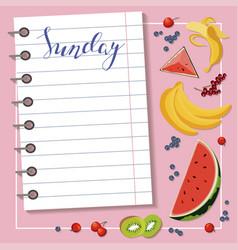 sheet of diet plan vector image