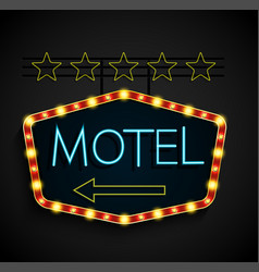 Shining retro light banner motel on a black vector