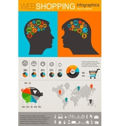Shopping infographics set retro style design vector image vector image