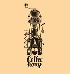 sign coffee house with grinder in roof vector image