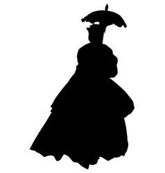 Silhouette woman in civil war era dress vector