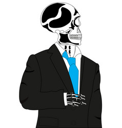 skeleton in suit vector image