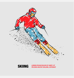 Skier on a mountain slope with snow spray vector